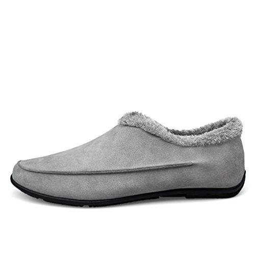 YiJee Shoes Scarpe Caloroso Uomo Da Foderato Loafers Moda Barca Mocassini Grigio Driving OqYOwSr