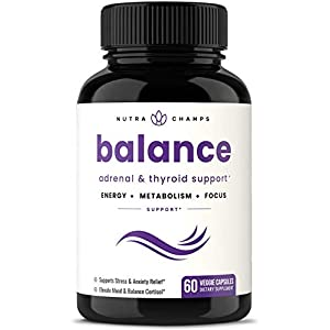 Thyroid Support & Adrenal Support Supplement 2-in-1 Natural Formula with Iodine & Ashwagandha for Energy, Metabolism…