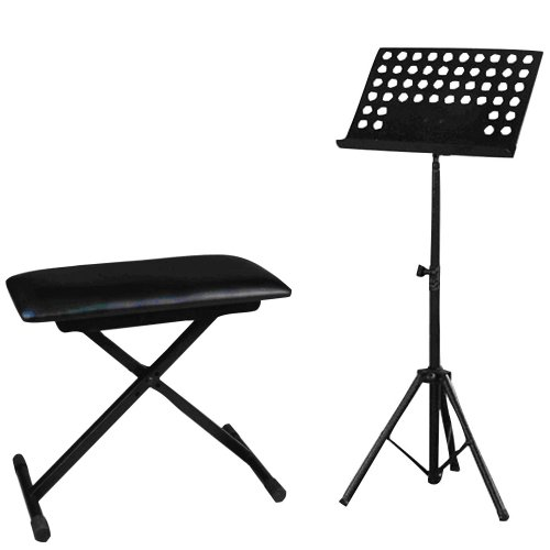 Pyle Mic, Music Sheet Stand and Stool Package - PMS1 Heavy Duty Tripod Music Note Stand - PKST60 Adjustable X-Style Keyboard Bench