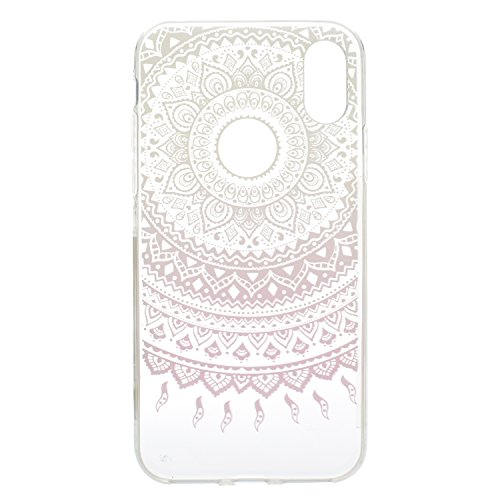 iPhone X Coque , Leiai Mode Transparent Fleur rose Ultra-mince Clear Silicone Doux TPU Housse Gel Etui Case Cover pour Apple iPhone X