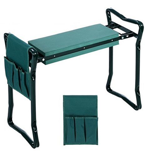 Foldable Garden Kneeling Pad and Seat with Tool Organizer Pouch - Portable Gardening Kneelerwith Padded Support