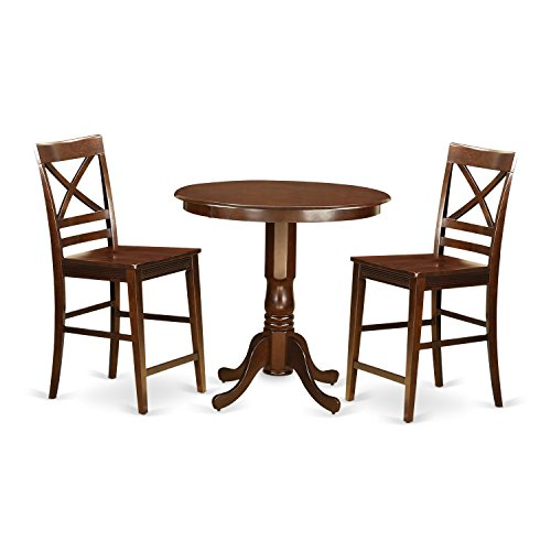 East West Furniture JAQU3-MAH-W 3 Piece High Table and 2 Chairs Set
