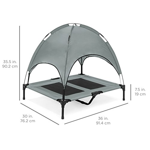 Best Choice Products 36in Outdoor Raised Mesh Cot Cooling Dog Pet Bed for Camping, Beach w/Removable Canopy, Travel Bag - Gray
