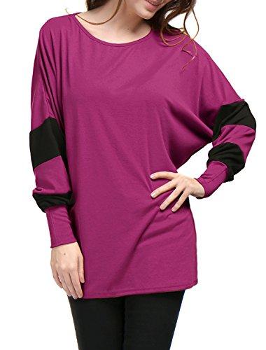 Allegra K Women's Color Block Batwing Sleeves Loose Tunic Top M Purple