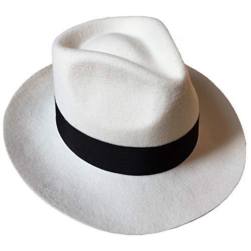 (Classic Men's Wool Felt Godfather Fedora Hat - Gangster Mobster Michael Jackson Gentleman Hat -Many Colors)