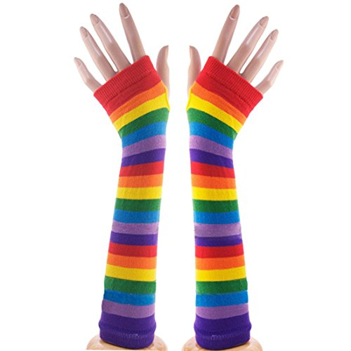 Red Care Bear Costume (Navadeal Colorful Rainbow Stripes Arm Warmer Fingerless Knit Gloves Costumes)