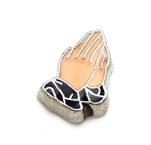 Praying Hands Cross Charm (Cherityne Praying Hands Floating Charm for Locket Pendants)
