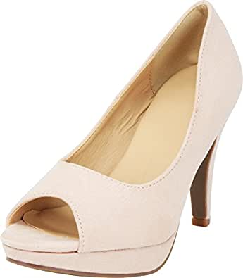 Cambridge Select Women's Classic Platform Peep Toe High Heel Dress Pump Beige Size: 6