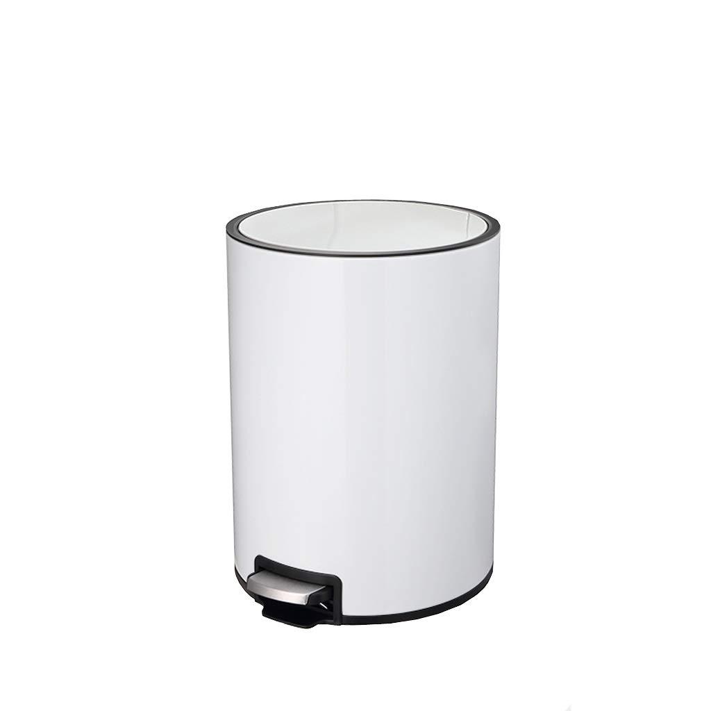 台所のゴミ箱ラウンド防水フットステンレス製の古紙のバケツサイレント降下収納バケツホワイト JSSFQK (Size : 12L-25×37cm) 12L-25×37cm  B07T52R58H