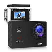 Victure AC200 Action Camera 1080P 12MP Waterproof Sports Camera 30M Underwater Diving Camera Action Cam with 170 Wide Angle and Rechargeable Battery