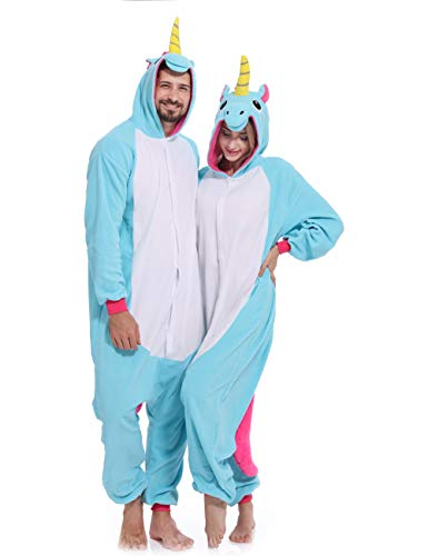 Unicorn Onesie Adult Pajamas Animal Halloween Costume One Piece Hoodie for Women -