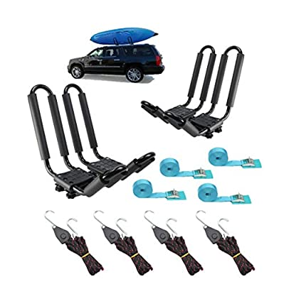 2 Pairs Heavy Duty Kayak Rack-Includes 4 Pcs Ratchet Tie-Mount on Car Roof Top Crossbar-Easy to Carry Kayak Canoe Boat Surf Ski (J-Bar Rack)