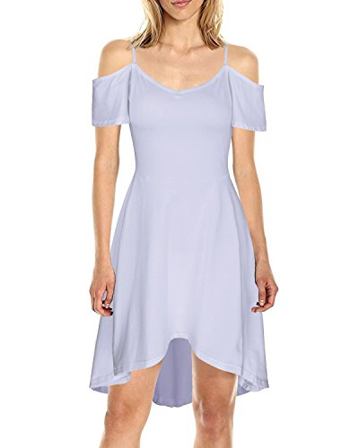 Kilig Women's Cold Shoulder Puff Sleeve Strap Casual Cotton Summer Dress(White, XL)  - Puff Shoulder Dress