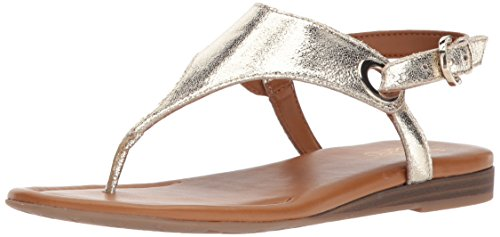 Franco Sarto Women's Grip Flat Sandal, Gold, 9 M US ()