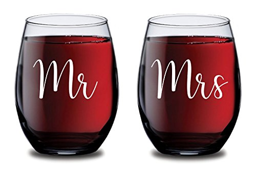 Mr & Mrs Personalized Wine Glass, Perfect Birthday Gift Idea for Wife or Husband, Personalized Wine Glass, Valentine's Day Present, Novelty Wine Glasses, Anniversary Gift, Stemless Wine Glass- 15oz