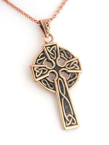Silver Insanity Medium Celtic Knot Sun Cross Solid Copper Pendant and 20