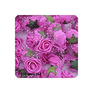 Artificial Flower 50Pcs 2Cm Mini Pe Foam Roses Artificial Flowers for Wedding Party Home Decoration DIY Teddy Bear Wreath Craft Flower Bouquet,Pe06 Rose Red 28