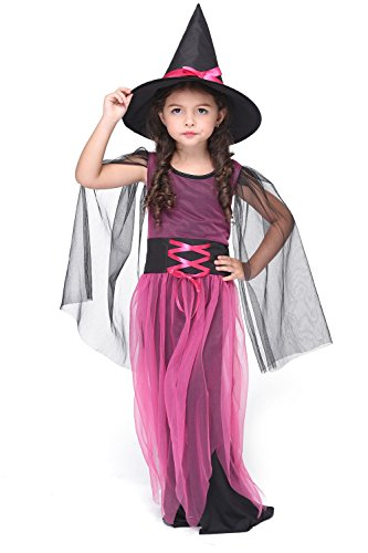 SENSERISE Girls Deluxe Halloween Witch Costume Dress Cute Witch Cosplay With Hat(Purple Black,M)