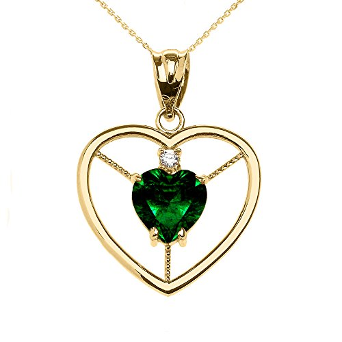 Collier Femme Pendentif Élégant 14 Ct Or Jaune Diamant et Mai Pierre De Naissance Vert Oxyde De Zirconium Cœur Solitaire (Livré avec une 45cm Chaîne)