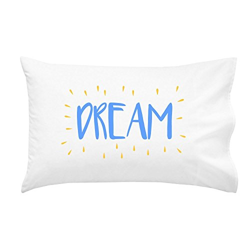 Oh, Susannah Dream Kids Pillowcase BLUE YELLOW - Fun Toddler Pillow Case (1 20x30 Inch Standard Size - Signs Big Head Custom