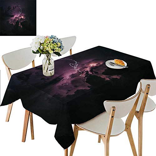 UHOO2018 Square/Rectangle Polyester Cloth Fabric Cover Lightning Weather Changes in The rain. Table Top Cover,50 x 72inch