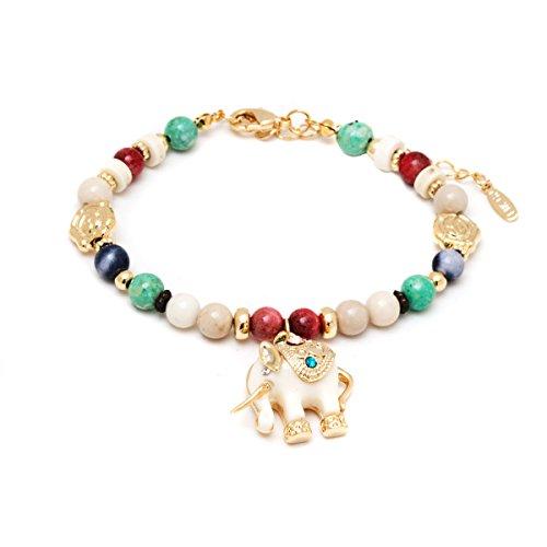 Gold & Crystals White Elephant Charm Bracelet (Elephant White Bracelet)