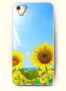 OOFIT phone case design with Two sunflowers blooming under the bright sun for Apple iPhone 5 5s