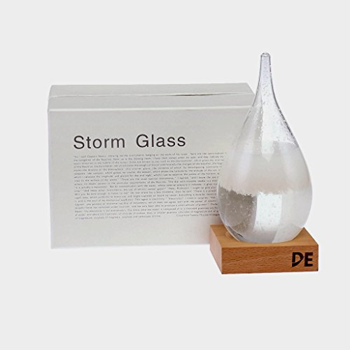 Deggy's Storm Glass Weather Predictor, Beautiful and Unique, Teardrop Shaped Barometer with Wooden Base, Desk Top, Conversational - Glasses Which