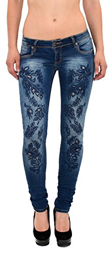 ESRA Damen Röhrenjeans Röhren Jeans mit Blumenmuster Hose Skinny Jeans Z163  Z163 EBcVidaZ 3569fb9f20