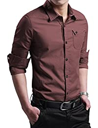 "<span class=""a-offscreen"">[Sponsored]</span>Men's Military Slim Fit Dress Shirt Casual Long Sleeve Button Down Dress Shirts"