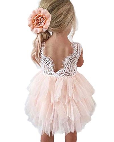 Topmaker Backless A-line Lace Back Flower Girl Dress (2T, Pink)