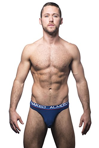 Andrew Christian Men's Almost Naked Tagless Premium Thong, Navy, Medium