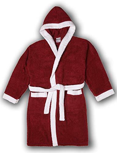 Girls Terry Cloth - Girls/Boys 100% Cotton Hooded Robe Kids Terry Cloth Bathrobe KR01_Y19 Maroon 8