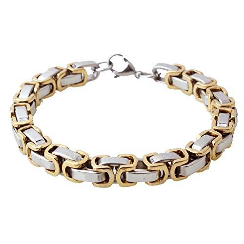 (Innovative jewelry Men's Fashion Silver Gold Byzantine Chain Bracelet 4/5/8mm Stainless Steel,7-11