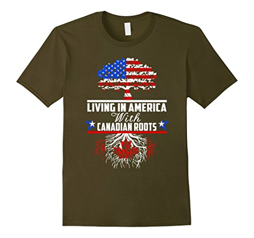 mens-living-in-america-with-canadian-roots-shirt-canada-flag-tee-3xl-olive