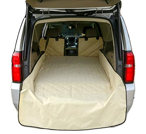Plush Paws Refined Cargo Liner for Dogs and Pets - Waterproof & Nonslip Silicone Backing for Trucks & Suv's, YKK Zippers and Bumper Flap (Extra Large, Tan)