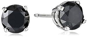 2 CT Black Diamond Stud Earrings 14k White Gold