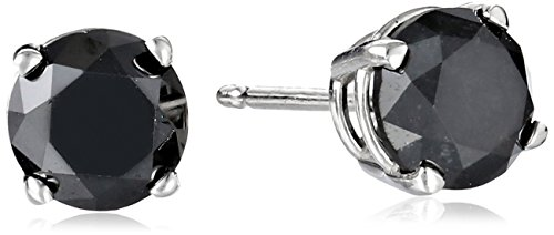 Diamond Black Collection (2 CT Black Diamond Stud Earrings 14k White Gold)