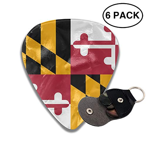 Flag Of Maryland 351 Shape Celluloid Guitar Picks Plectrums 6 Pack Unique Designs -0.46 MM,0.71 MM,0.96 ()