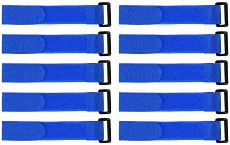 uxcell フックとループのストラップ25mm x 200mmストラップ固定 再利用可能な固定ケーブルタイ (ブルー)10個