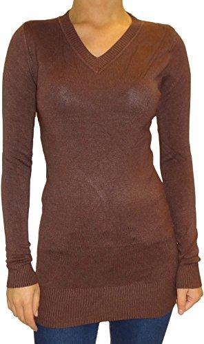 Señoras de las mujeres de negocios ocasional con cuello en V elástico del mini vestido del suéter de la tapa Brown