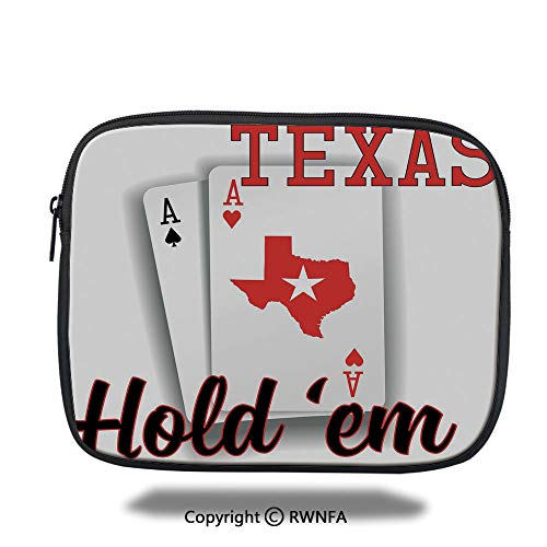 - Fashion Protection Bag,Texas Holdem Theme Pair of Aces with Map Winning Hand Decorative,10.8