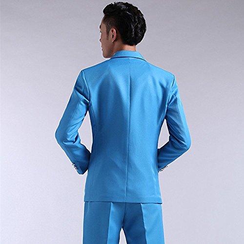 MYS Uomo coreano stile colorato Stylish Party tuta pantaloni Set Blu