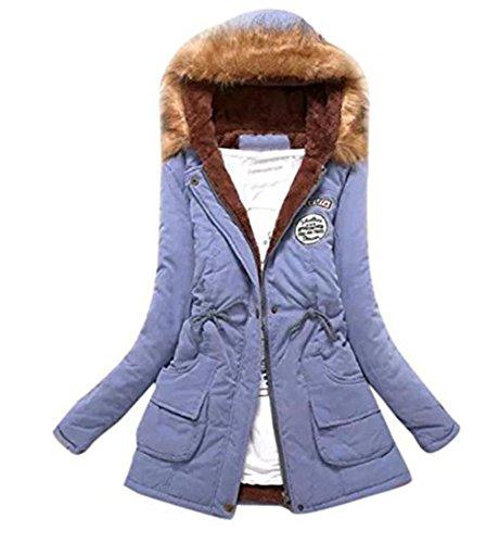 Desgastar Coat Piel Chaqueta Abrigo Lnvierno Largo Rebecas de Chaqueta Capucha Parka Trench con Lago azul Caliente de de Mujeres Cuello IR6cqwFwa