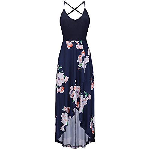 VEZAD Women Summer Fashion Leisure V-Collar Sexy Printed Sleeveless Dresses ()