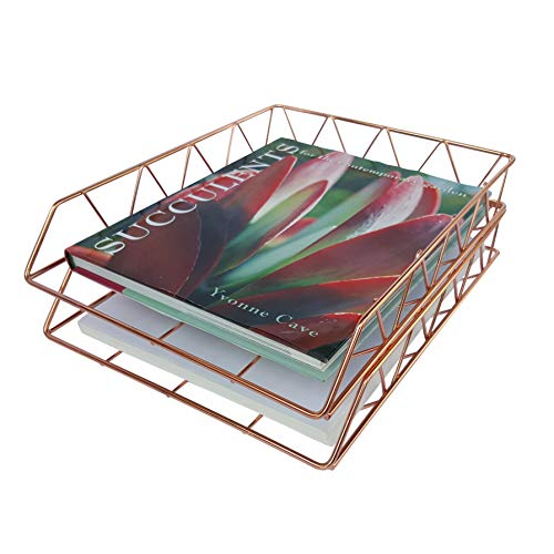 Coastal Colors Rose Gold 2-Tier Stackable Desk Organizer Double Metal Wire Basket Letter Tray Cute Office Cubicle Decor