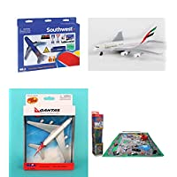 "Toy Airplane Playset - Airport Playmat with Three 5.5"" Diecast Model Planes & Accessories - Southwest, Emirates, Qantas Airlines"
