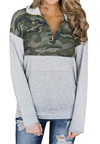 (Artfish Women's Camo Print Tops 1/4 Quarter Zip Pullovers Sweatshirts with Pocket (Camo Gray, S) K009 New)