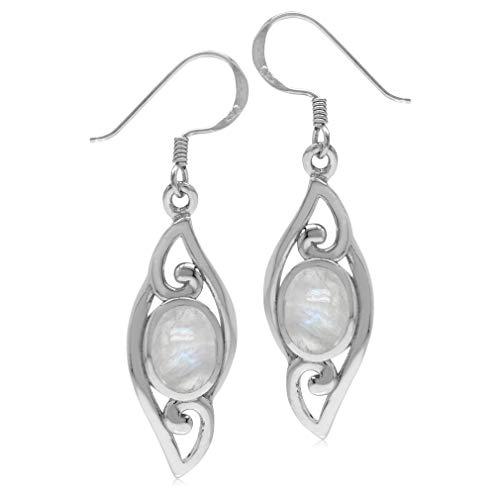 Oval Natural Moonstone 925 Sterling Silver Filigree Swirl Drop Dangle Earrings