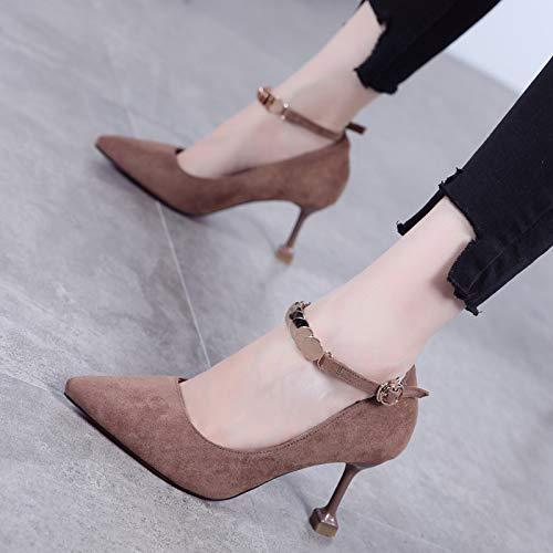 Yukun zapatos de tacón alto Hebilla De Metal De Moda Otoño con Tacones Altos Señaló Hembras Zapatos De Tacón Aguja Salvaje Negro Superficial Khaki